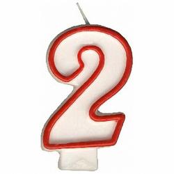 Zahlenkerze, Geburtstagskerze `2`, 75 mm, 1 Stk.