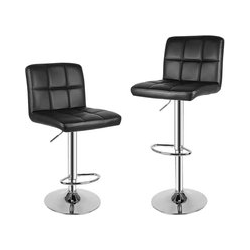 Modern Bar Stools Set of 2 PU Leather Swivel Bar Chairs For Breakfast Bar, Counter, Kitchen and Home Barstools - Black