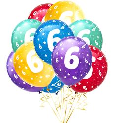 Luftballon Set Zahl 6 für 6. Geburtstag Kindergeburtstag Party 10 Deko Ballons Geburtstagsdeko bunt