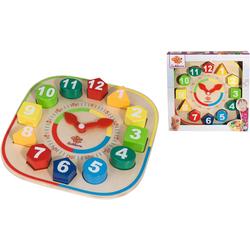 Eichhorn Steckspielzeug Lernuhr mit Steckteilen, aus Holz bunt Kinder Holzspielzeug