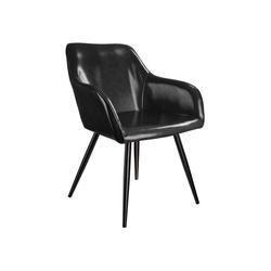 tectake Esszimmerstuhl Stuhl Marilyn Kunstleder, schwarze Stuhlbeine schwarz