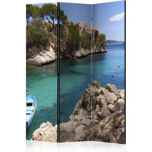 murando Raumteiler Meer Boot Insel Steg Foto Paravent 135x172 cm beidseitig auf Vlies-Leinwand bedruckt Trennwand Spanische Wand Sichtschutz Raumtrenner blau c-B-0038-z-b