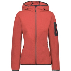 CMP Damen Giacca in Pile Jacquard Knitted Con Cappuccio Fleecejacke, Red Fluo, 40