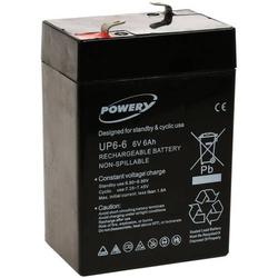 Powery Blei-Gel Akku für Solaranlagen, Alarmanlagen 6V 6Ah (ersetzt auch 4Ah, 4,5Ah), 6V, Lead-Acid