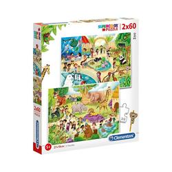 Clementoni® Puzzle Puzzle 2x60 Teile - Zoo, Puzzleteile