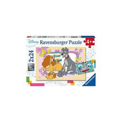 Ravensburger Puzzle Puzzle Disneys liebste Welpen, 2x24 Teile, Puzzleteile
