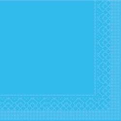 Mank Tissue Basics Servietten, 33 x 33  cm, 1/4 Falz, 3-lagig, 1 Karton = 6 x 100 Stück = 600 Servietten, aqua blau