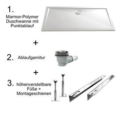 HSK Marmor-Polymer Duschwannen-Set, superflach mit Punktablauf 90 × 120 × 3,5 cm