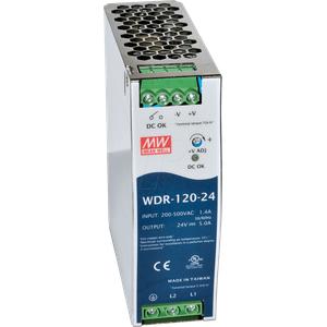 MW WDR-120-24 - Schaltnetzteil, Hutschiene, 120 W, 24 V, 5 A