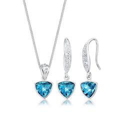 Elli Schmuckset Geo Aquamarine Kristalle 925 Silber
