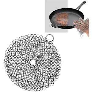 Jcsdhly 8'' Edelstahl Gusseisen Reiniger Kette Wäscher für Bratpfanne Wok können Gusseiserne Pfanne, Scheuerschwamm Reinigungsbürste