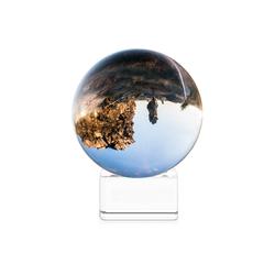 Navaris Dekoobjekt, Glaskugel Fotografie Kugel aus K9 Glas - Fotokugel mit Ständer - Kristallkugel klare Kristall Deko mit Glasständer - Ø 80mm