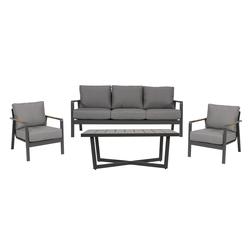 Lounge-Set mit Alugestell in anthrazit, Einleger in der Armlehne in Teakholz-Optik und Kissen in grau, 2 Loungestühle, Loungebank und Loungetisch