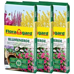 Floragard Blumenerde, 3x20 Liter braun Zubehör Pflanzen Garten Balkon Blumenerde