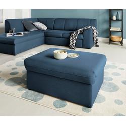DOMO collection Hocker Topper, mit Wellenunterfederung, auf Kunststoffgleitern blau