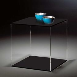 Würfel Beistelltisch aus Acrylglas Schwarz