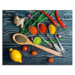 Artland Küchenrückwand Gewürze in Metalllöffeln, (1-tlg) 70 cm x 55 cm x 0,3 cm