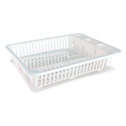 Geschirr- und Besteckabtropfkorb, Mit Tablett, Maß: 45,5x35x10 cm, Farbe: weiß