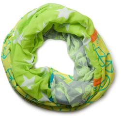 styleBREAKER Loop Loop mit Sterne Peace Totenkopf Muster Loop mit Sterne Peace Totenkopf Muster grün