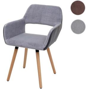 Esszimmerstuhl HWC-A50 II, Stuhl Küchenstuhl, Retro 50er Jahre Design ~ Kunstleder/Stoff, hellgrau,