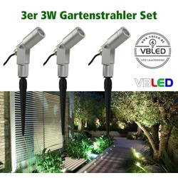 VBLED LED Gartenstrahler 3er-Set 3W Gartenstrahler