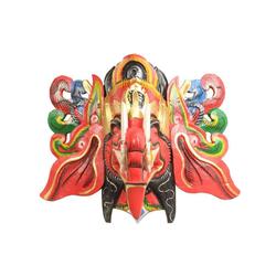 Oriental Galerie Holzbild Ganesha Maske Bunt - Rot, Ganesha (1 Stück), Handarbeit