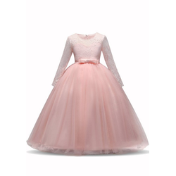 TOPMELON Abendkleid Lange Ärmel, Prinzessinenkleid, Spitze, Tüll rosa 140