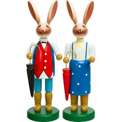 SIKORA Osterhase OD09 großes Mama und Papa Osterhasen Figuren Paar als farbenfrohe Osterdeko H: 21cm