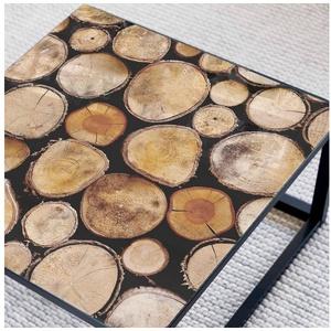 K&L Wall Art Arbeitsplatte Glas Tischplatte Holz Optik Glastisch Baumstamm Maserung Glasplatte Quadratisch