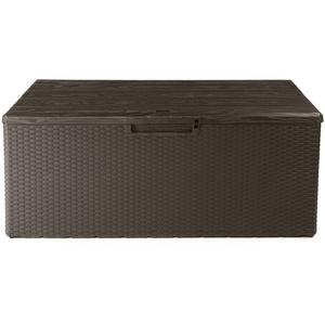 Ondis24 Kissenbox Fino Sitztruhe 340 L Auflagenbox Gartenbox abschließbar Gartentruhe (braun)