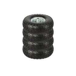 Yaheetech Sackkarren-Rad, 4 Stück PU Rad Sackkarre ØxH255 x 80 mm, Schubkarrenreifen vollgummi, Bollerwagen Ersatzrad, Räder mit Metallfelge, Achsdurchmesser 16 mm Reifen