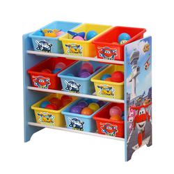 Natsen Aufbewahrungsbox, Kinderregal Spielzeugregal mit 6 Boxen ''Super Wings'' Kinderzimmer Bücherregal Spiezeugaufbewahrung(Holz)