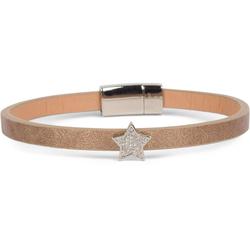 styleBREAKER Armband Schmales Armband mit Stern & Strass, Schmales Armband mit Stern & Strass braun