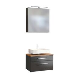 Spiegelschrank mit Waschbeckenschrank dunkel Grau und Wildeiche Dekor (2-teilig)