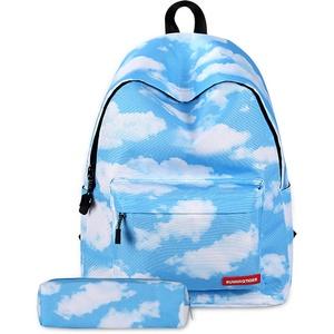 FANDARE Schulrucksack Galaxy Schultasche Junge Mädchen Rucksäcke Schulranzen mit Mäppchen Teenager Tagesrucksack Reise Daypack Damen 14 Zoll Laptop-Tasche Kinderrucksäcke Wasserdicht Polyester Wolken