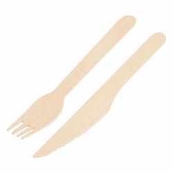 Holz-Gabeln und Messer 160mm lebensmittelecht umweltfreundlich, je 100 Stk.