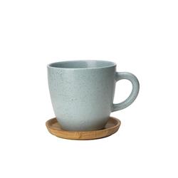 Höganäs Keramik Höganäs Keramik Kaffeebecher 330 ml mit Holzuntersetzer Frost matt