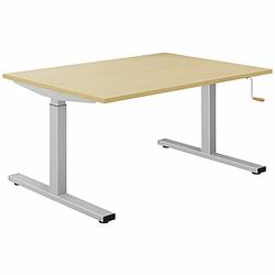 EXPERT Schreibtisch mit T-Fuß-Gestell und Kurbelantrieb, rechteckig, 90cm tief