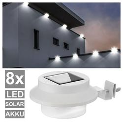 etc-shop LED Dekolicht, 8er Set LED Solar Außen Zaun Grundstück Dachrinnen Lampen Garagen Klemm Strahler