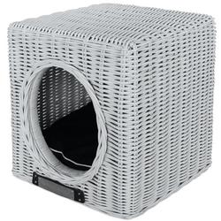 Hundehöhle Katzenhöhle aus Rattan, 41 cm x 41 cm x 46 cm, weiß