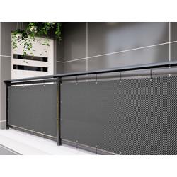 dynamic24 Balkonsichtschutz Polyrattan PVC Sichtschutzmatte 300x90 Balkon Sichtschutz Zaun Windschutz grau