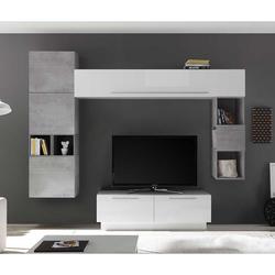 Fernseher Wohnwand in Weiß Hochglanz und Beton Grau 265 cm breit (8-teilig)