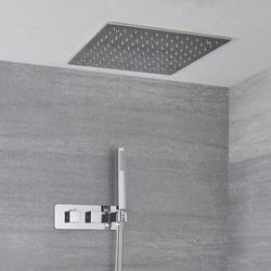 2-Wege Thermostat mit 400x400mm Regendusche & Handbrause, Unterputz - Kubix, von Hudson Reed