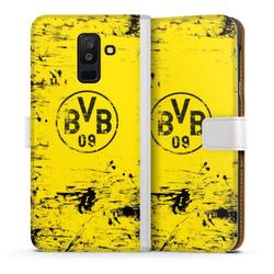 DeinDesign Handyhülle BVB Destroyed Look Samsung Galaxy A6 Plus (2018), Hülle Borussia Dortmund Offizielles Lizenzprodukt BVB weiß