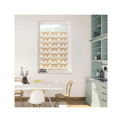 Fensterfolie Fensterfolie selbstklebend, Sichtschutz, Boho Zig Zag - Gelb, LICHTBLICK ORIGINAL, blickdicht, glatt 50 cm x 100 cm