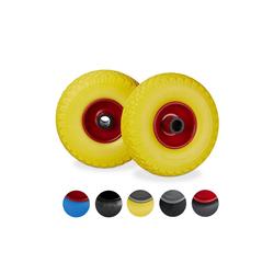 relaxdays Sackkarren-Rad 2 x Sackkarrenrad Vollgummi gelb-rot (2er Set), pannensicher