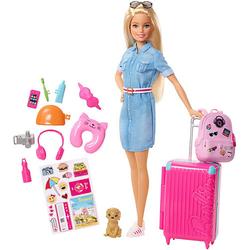 Barbie Reise Puppe (blond) mit Zubehör, Anziehpuppe, Modepuppe, Barbie Urlaub