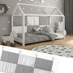 Hausbett Kinderbett Bettrückwand Wiki 200x85 Grau-Weiß