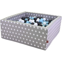 KNORRTOYS Bällebad soft grey white dots inkl. 100 Bälle creme/grey/lightblue