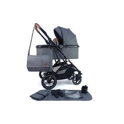 Pixini Kinder-Buggy, Kinderwagen Lania 2 in 1 inkl. Regenplane und Wickeltasche grau